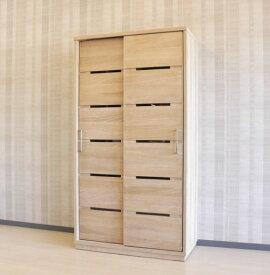 天然木ホワイトオーク材ダイニングボード食器棚100cmスライド式・引き戸・大型ハンドル・木製・天然木突き板引き出し付き・開梱設置サービスお届け・シリーズ商品有り