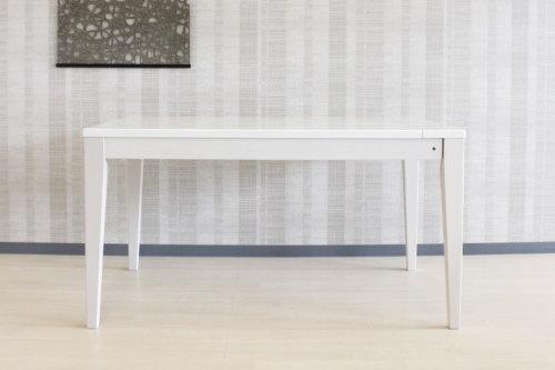ハイグロスUV塗装仕上げ天然木タモ無垢材4本脚・木製オフホワイト仕上げ天板伸長式デザイン単品販売エクステンション・ダイニングテーブル・伸縮式