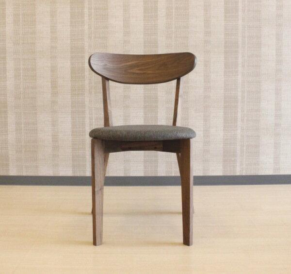 天然木ウォールナット無垢材使用のダイニングチェアー北欧モダンテイストの曲げ木加工の掛け心地のいい椅子2脚セット販売布張りファブリック軽量 木製