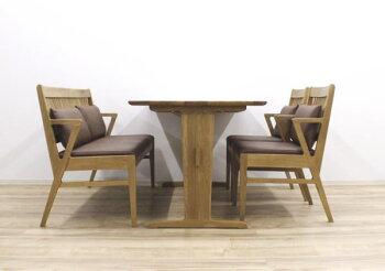 天然木ホワイトオーク無垢材ナラ無垢材アームチェアー肘付き椅子背付きベンチ背もたれ付きベンチハーフアーム肘付き北欧モダンダイニング4点セット食卓4点セット