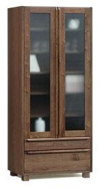 重厚感のある天然木ウォールナット無垢材使用の本棚前板・戸枠・脚部無垢材・天板突き板仕様・国産・日本製木製・自然塗装オイル仕上エコ仕様シリーズ商品有り