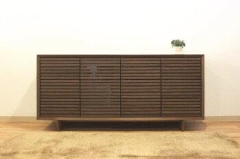 天然木突き板木製ウォールナットサイドボード・キャビネット・ローボード・インポート180143格子・ボーダー