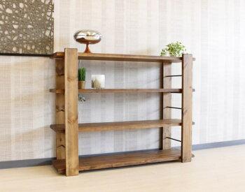 クラフト感のある仕上げの天然木パイン無垢材使用の国産シェルフ・魅せる収納・ヴィンテージ・ビンテージ・アンティーク・アイアン