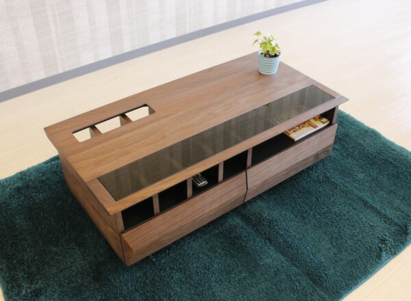 天然木ウォールナット無垢材使用のディスプレイ収納引出し付きセンターテーブル110cm国産・日本製エコ仕様デザイン性のあるカッコいい機能性も高いテーブル