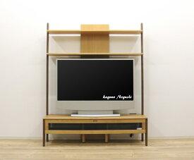 天然木アルダー材のツートンカラーがかわいいテレビ台棚付き壁面収納テレビボード【W145cm幅¥69800】木製シリーズ商品ありますジラフきりん60インチテレビ収納