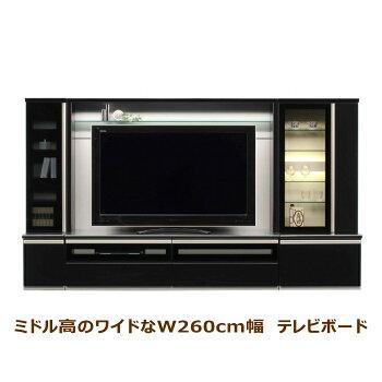 大型壁面収納・ワイドtvボード・オーク・ブラック・黒・ミドル高・コレクションボード・飾り棚・ハイグロスシート・国産・日本製