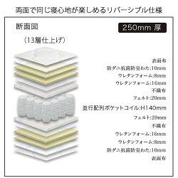 マットレスポケットコイルダブルサイズダブルベッド用レギュラータイプ並行配列ホワイトブラック厚み25cm【日本製】