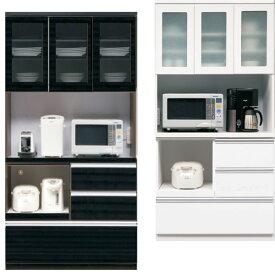 食器棚 引き戸タイプ 幅90 完成品 キッチン収納家具 レンジ台 キッチンボード ダイニングボード 木製 コンセント付き 選べる ホワイト ブラック おしゃれ お洒落 安い