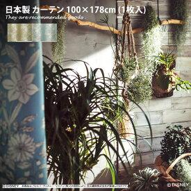 POOH Parterre 100×178 ディズニー プーさん 草 ナチュラル ボタニカル かわいい 北欧 ドレープカーテン カーテン 1枚 花 1.5倍ヒダ お洒落 キャラクター