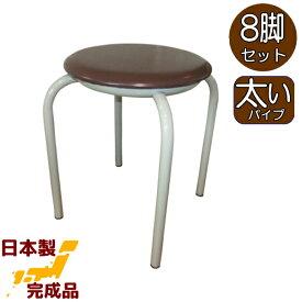 【送料無料】太いパイプで厚めマットの丸イス8脚入(茶無地)NEW日本製 工場直販 ブラウン 国産 居酒屋 食堂 業務用 丸椅子 丸イス スツールパイプイス パイプ椅子 組み立て不要 完成品