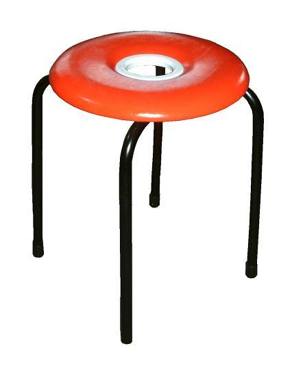【送料無料】ドーナツイス(赤)10脚セット日本製 穴開き丸椅子 スツール パイプイス レッド 丸椅子 丸イス ドーナツ椅子 パイプ椅子
