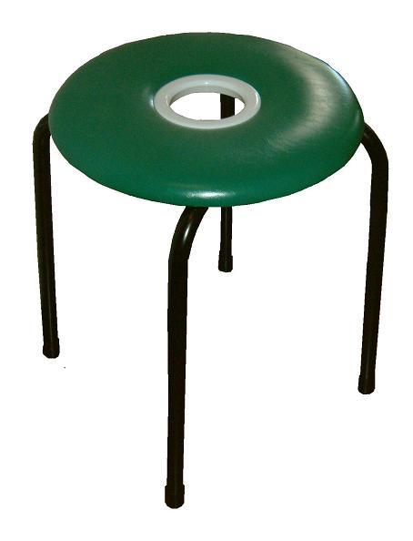 【送料無料】ドーナツイス(緑)10脚セット日本製 穴開き丸椅子 スツール パイプイス グリーン組立不要 完成品