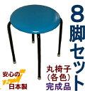【送料無料】丸イス 8脚セット(日本製) 丸イス 丸椅子 スツール パイプイス 完成品 組み立て不要