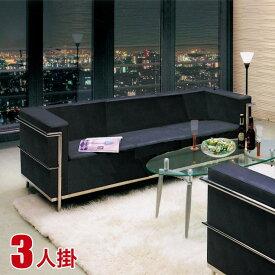 【送料無料/設置無料】 シンプルでモダンなソファ クールII(3P)ブラック 完成品 3P スチールフレーム SPU レザー ウレタンフォーム オフィス モダン おしゃれ かっこいい