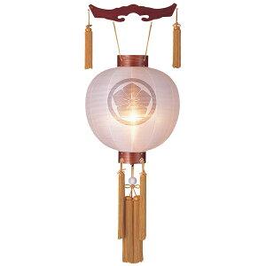 盆提灯 御殿丸 絹張特五丸 ケヤキ無地 木製風鎮付 電気式/電池式LED 家紋入れサービス