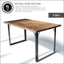 【送料無料】 ダイニングテーブル 135 無垢 無垢材 アイアン 脚 ブラック 4人 4人掛け 4人用 幅135cm 135cm アンティ…
