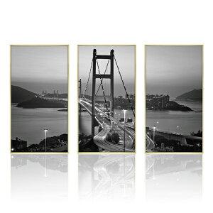 【送料無料】 フォトパネル 3枚組 モダン モノトーン ブリッジ 都会 分割 玄関 フォトグラフィー 写真 パネル フォトポスター アートパネル アートフレーム おしゃれ モノトーン デザイン イ