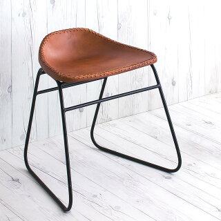 本革スツールデザインレザースツール本革椅子スリムアイアンアンティークリビングチェアー玄関椅子いすチェアーイスおしゃれシンプルスタイリッシュモダンレトロチェア本革張りレザーチェアアイアンスツールアイアンと本革のスツール