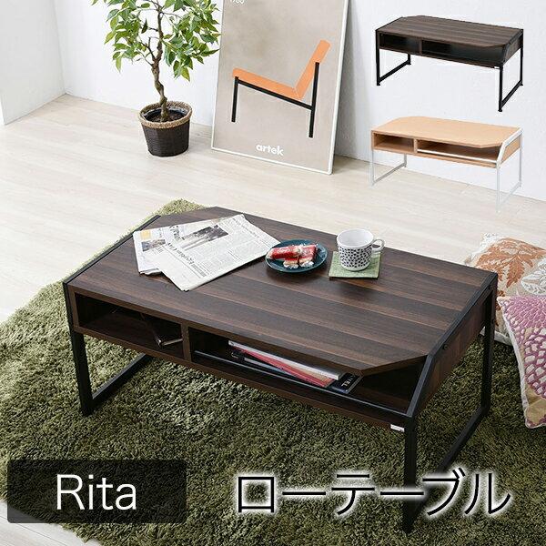 テーブル 木製 ブラックアイアンフレーム コーヒーテーブル ローテーブル ソファテーブル センターテーブル 机 シンプル アンティーク調 スチール 無垢材 塩系 インテリア 男前 西海岸塩系インテリア Re・conte Rita series Center Table RT-007