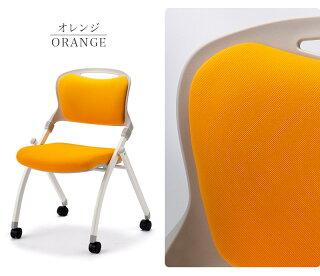 会議チェア2脚セットミーティングチェア黒青折りたたみキャスター付きオフィス会議用チェアスタック椅子スタッキング折り畳みフォールディングオフィスチェア会議チェア厚いクッションブラック緑オレンジ