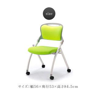会議チェア4脚セットミーティングチェア黒青折りたたみキャスター付きオフィス会議用チェアスタック椅子スタッキングオフィスチェア折り畳みフォールディング会議チェア厚いクッションブラック緑オレンジ