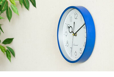 壁掛け時計静かな秒針秒針なめらかサイレントムーブメントカチカチ音がしないスイープ秒針壁掛時計ウォールクロック直径23cmコンパクトシンプルシルバーブルー青色かわいいおしゃれオシャレ送料無料