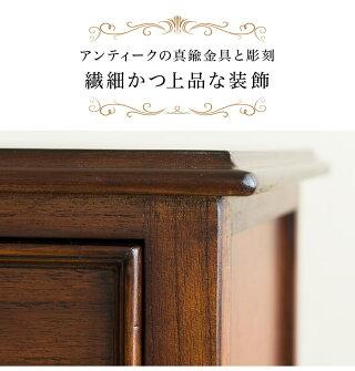 アンティーク調ウェール4段チェスト木製リビングボード木製キャビネット猫脚チェストFAX台ファックス台ブラウン茶