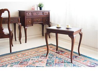 サイドテーブルアンティークおしゃれコーヒーテーブル[ヨーロピアンアンティーク風クラシックテーブル]ダイニングテーブル猫脚ネコ脚テーブル茶ブラウン/木製/
