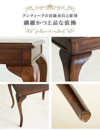 サイドテーブル木製エレガント優雅コーヒーテーブルダイニングテーブル猫脚テーブル茶ブラウン/木製/