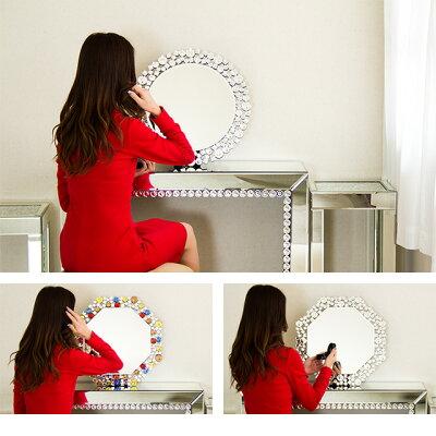 卓上ミラー壁掛けミラーロイヤルミラー豪華高級クリスタル調装飾卓上スタンドミラー卓上鏡壁掛け鏡かがみカガミメイクミラー化粧ガラスルームミラーインテリア風水で縁起が良い八角形と円形丸型おしゃれかわいい通販送料無料送料込み