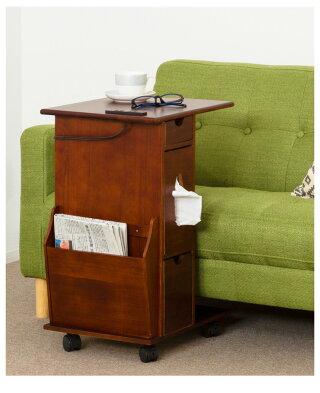 サイドワゴンサイドテーブルソファーサイドベッドサイドサイドチェストナイトテーブルリビングワゴンマガジンラック寝室居間便利収納多機能ワゴン多目的ワゴンキャスター付き完成品天然木送料無料