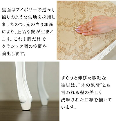 マホガニー猫脚チェアー椅子アンティーク姫系ホワイト白ダイニングチェアー椅子木製ヨーロピアンテイストがロマンチックな空間を彩るアンティーク風家具