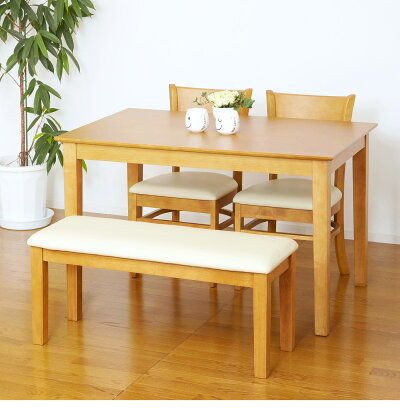 天然木ダイニングセット幅115ダイニングテーブル食卓ダイニングテーブル椅子チェアー木製ベンチ天然木ダイニング家具キッチンチェアー椅子ダイニングチェアー木製/通販/送料無料新生活