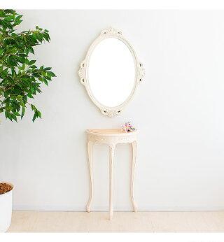 ミラー鏡楕円幅54cm高さ72cmホワイトオーバルミラー丸壁掛けおしゃれ可愛い天然木無垢材ヨーロピアンクラシック家具玄関マホガニーロココ調アンティークレトロ完成品送料無料組立不要