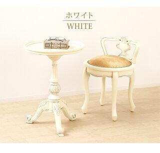 サイドテーブル丸アンティーク調円形ホワイト白ブラウン丸型おしゃれ木製テーブル北欧カフェテーブルクラシック加湿器の台テーブル姫家具ロマンティック上品エレガント