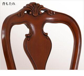 ダイニングチェアアンティーク風ブラウン茶ロマンチック家具