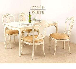 ダイニングチェアアンティーク風ホワイト白エレガント家具