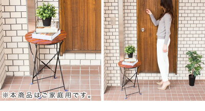 ガーデンテーブル60cmおしゃれ折りたたみオシャレテラステーブルベランダガーデニングアイアンスチールファニチャー折り畳みダイニングテーブル無垢天然木製テーブル丸テーブル庭アウトドアラウンドテーブル送料無料