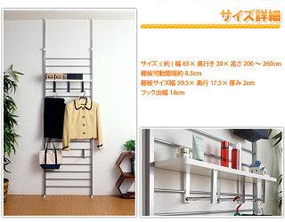 突っ張りラック薄型オシャレ壁面収納パーテーション棚フックや棚板をうまく活用してコーディネートおしゃれ
