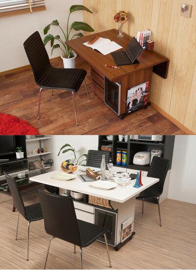 大容量の収納付きダイニングテーブル幅約120cmバタフライRabatラバット日本製キッチンカウンター完成品