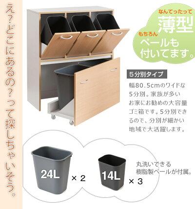 キッチン収納スリムダストボックス5分別