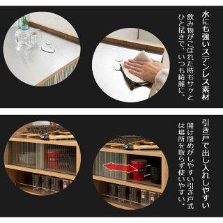 ステンレス天板キッチンワゴン収納シンプルなキッチンストッカー