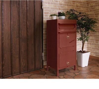 (入荷待ち)スタンドポスト、置くだけ設置の完成品、Carryキャリー郵便ポスト。アメリカンでレトロなデザインの郵便受け、アイアン製のアンティーク調デザインが可愛い、玄関にレトロでカワイイ郵便ポスト。投函口が大きいので簡易の宅配ボックスとしても使える多機能ポスト
