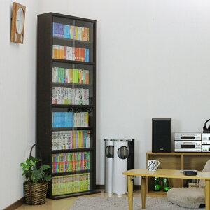 本棚|書棚|薄型|ガラス|扉付|ディスプレイ|ラック|送料無料