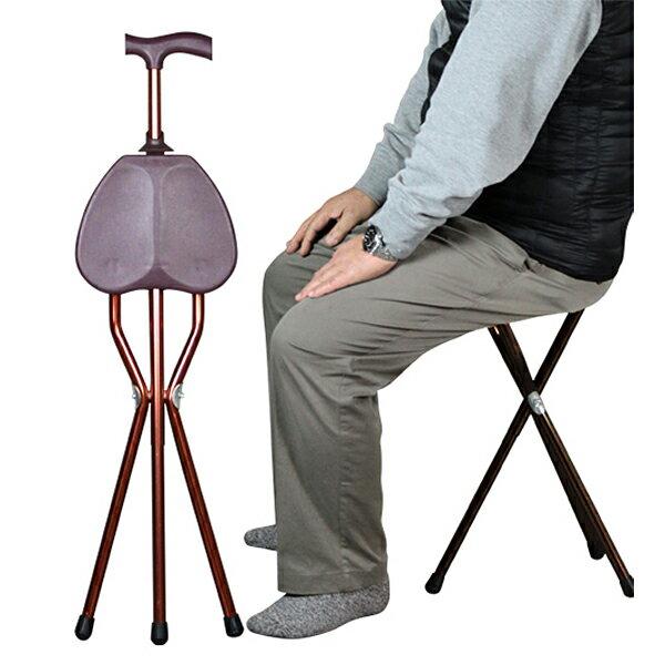 ステッキ 軽量 アルミ製 らくらく ステッキチェア すぐに使える 完成品 杖 ウォーキング 椅子 登山 チェアー 3脚 チェア 杖 軽量 コンパクト 折りたたみ イス 左手 右手 アルミ 折り畳み 杖 ブラウン 【送料無料】 SN-9402 DI-S6