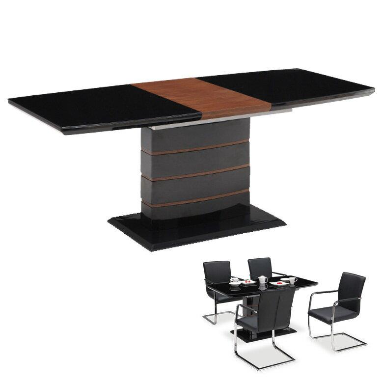ガラス ダイニングテーブル 伸長式 伸縮式 テーブルのみ 4人掛け 6人掛け 幅140cm 幅180cm テーブル単品 単品 鏡面 強化ガラス ダイニング テーブル 木製テーブル ブラック 4人用 6人用 食卓テーブル 食卓 送料無料