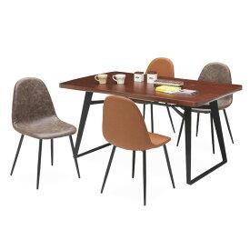ダイニングテーブルセット ダイニングセット 4人掛け アイアン 5点セット 4人用 ウォールナット ダイニングテーブル ダイニングチェア ダイニングチェアー テーブル 食卓 食卓セット 木製 ブラウン ダークブラウン 送料無料