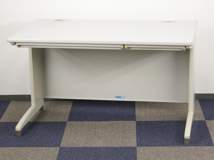 平デスク 事務机 オフィスデスク くろがね製:Vシリーズ W1200xD700xH700 JD-V127F 中古 セット オフィス家具 コードホール付 中引出付き