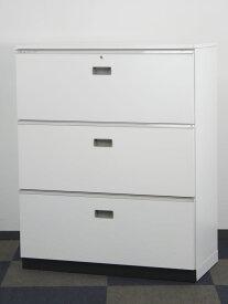 3段ラテラル ラテラル書庫 引き出し書庫 ベース・鍵・天板付き 中古キャビネット 定番の引き出し書庫 オフィス収納 イトーキ製 W900xD450xH1120 中古 オフィス家具 お勧め商品