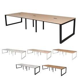 フリーアドレス用テーブル 4ヶ口コンセント付き 8人用 ミーティングテーブル 天板3色×フレーム脚2色 アール・エフ・ヤマカワ製:Lismシリーズ W3600xD1200xH720 RFFLT-3612 新品 オフィス家具